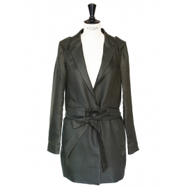 Dark green cotton and linen jacket Retail price 1100€ NEW Size 40