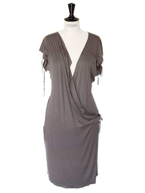 SISLEY Light kaki green cotton jersey wrap dress Size 36/38