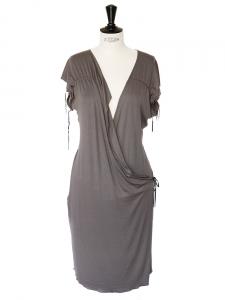 louise paris robe portefeuille sisley en jersey de coton vert kaki clair taille 36 38. Black Bedroom Furniture Sets. Home Design Ideas