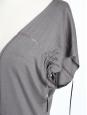 Robe portefeuille SISLEY en jersey de coton vert kaki clair Taille 36/38