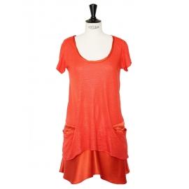 Robe en lin et soie rouge orangé corail Taille 36