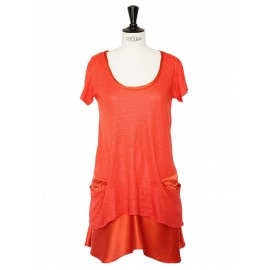 Bright coral red linen and silk short sleeves dress Size 36