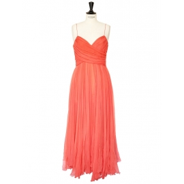 Mid-length coral red silk chiffon evening dress Retail price €2500 Size 38