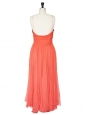 Mid-length coral red silk chiffon evening dress Retail price 2500€ Size 38