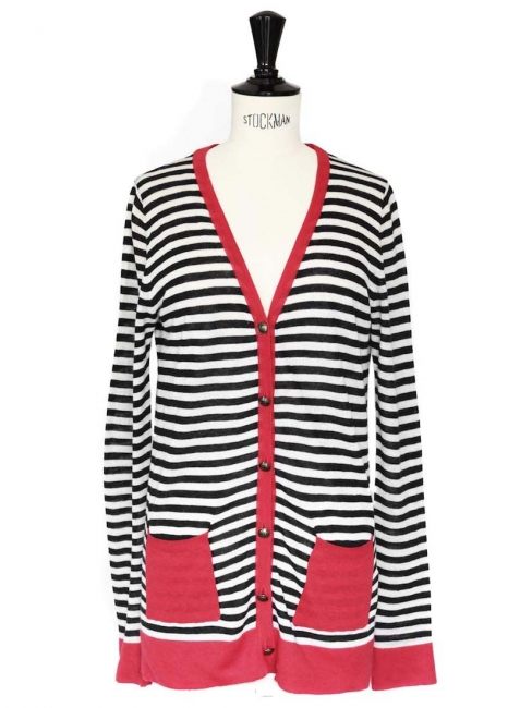Black red and white striped cotton knit cardigan Size 36/38