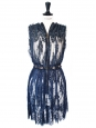 Haute couture lace and swaroski crystals dark blue dress Retail price 6000€ Size 36