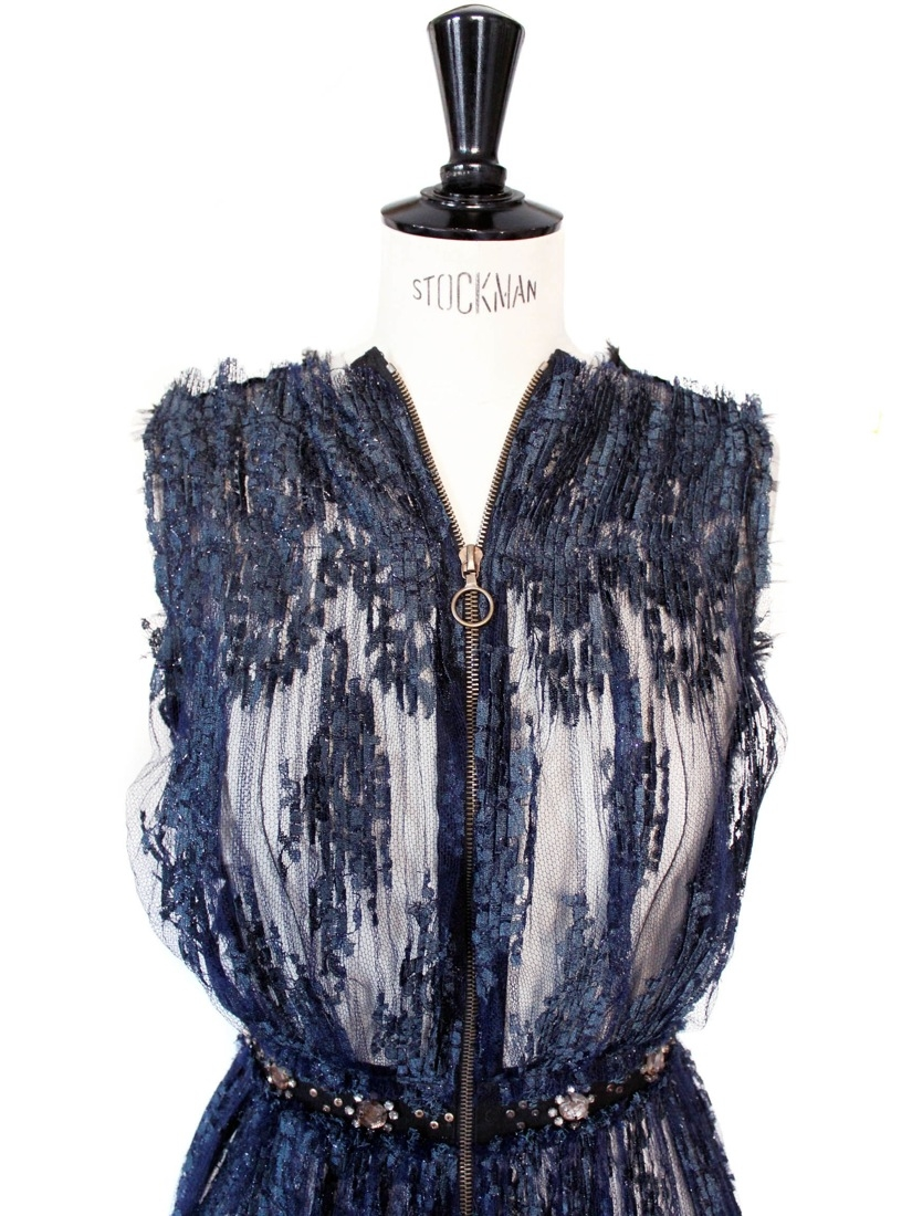 Haute couture lace and swaroski crystals dark blue dress Retail price