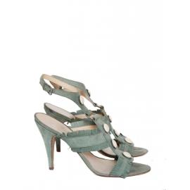 Sandales ENORA gladiator à talon en veau velours vert amande Px boutique 450€ Taille 39