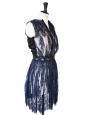 LANVIN Robe haute couture en dentelle bleu nuit brodée de cristaux swarovski Px boutique 6000€ T 36