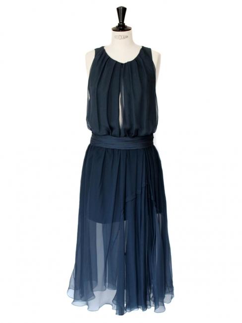 louise paris chloe robe de soir e en mousseline de soie bleu p trole prix boutique 2000. Black Bedroom Furniture Sets. Home Design Ideas