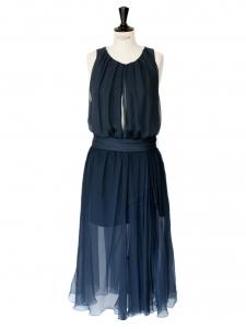 Robe de soirée en mousseline de soie bleu pétrole Prix boutique 2000€ Taille 36/38