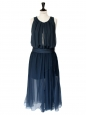 Petrol blue silk chiffon long dress, evening gown Retail price 2000€ Size 38/38