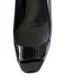 Escarpins peep toe en cuir verni noir et talon argent Px boutique 450€ Taille 40