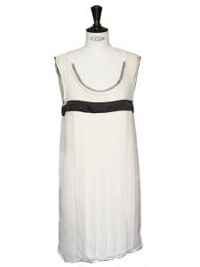 MICHEL HARCOURT Ecru and black pleated silk chiffon dress Retail price 900€ Size 36