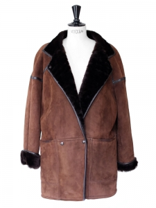 MAC DOUGLAS dark brown sheepskin leather and fur coat / jacket Size M