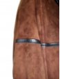 MAC DOUGLAS dark brown sheepskin leather and fur coat / jacket Size M