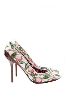 Escarpins en toile blanche imprimé fleuri rose et vert et cuir marron NEUF Px boutique 550€ Taille 39,5