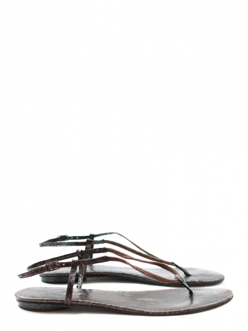 Brown python printed leather flat sandals Retail price €240 Size 40