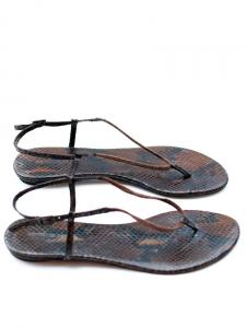 Sandales plates en python brun marron Px boutique 220€ Taille 40