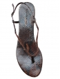 LES PRAIRIES DE PARIS Brown python printed leather flat sandals Retail price €240 Size 40