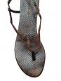LES PRAIRIES DE PARIS Sandales plates en python brun marron Px boutique 220€ Taille 40