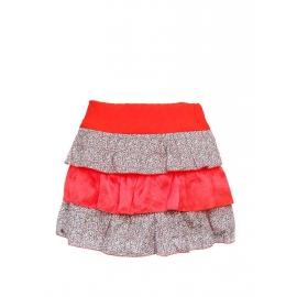 Mini jupe à volants en soie rouge vif et coton imprimé liberty NEUVE Taille 34