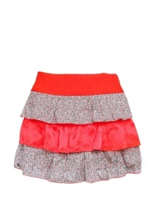 Bright red silk and liberty print cotton mini skirt Size 34