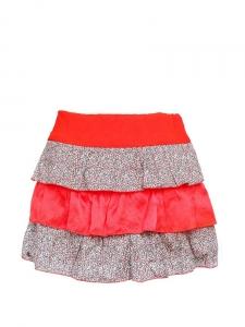 LE MONT SAINT MICHEL Mini jupe à volants en soie rouge vif et coton imprimé liberty Taille 34