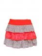 Bright red silk and liberty print cotton mini skirt Size 34