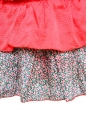 LE MONT SAINT MICHEL Bright red silk and liberty print cotton mini skirt Size 34