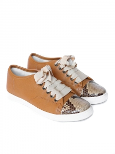 Baskets en cuir camel et python naturel à lacets ruban Px boutique 550€ NEUF Taille 36