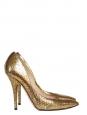 Gold metallic python leather stiletto pointy toe heels Retail price $920 / 680€ Size 38