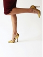 Gold metallic python leather stiletto pointy toe heels Retail price $920 / 680€ Size 38