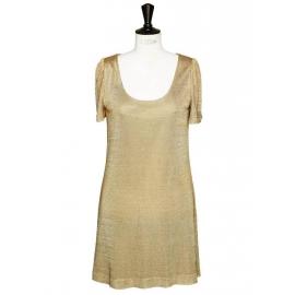 Robe de cocktail en maille métallisée dorée Px boutique 1300€ Taille 38