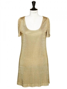 Gold metallic knit short sleeves dress Retail price 1300€ Size 38
