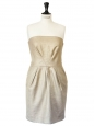 Gold pleated strapless cocktail dress Retail price 1200€ Size S