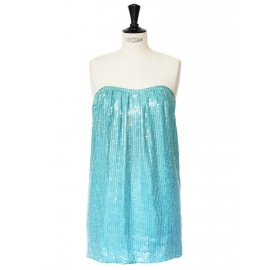 Mini robe bustier à sequins bleu turquoise Prix boutique 1400€ Taille XS