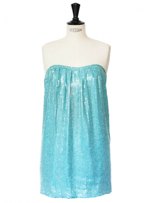Turquoise blue silk sequin embellished bustier mini dress Retail price €1400 Size XS