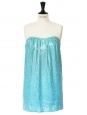 Mini silk turquoise blue sequin bustier dress Retail price 1400€ Size XS