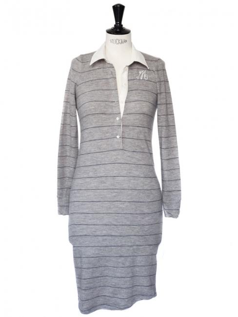 Robe chemise col blanc en laine grise à fines rayures bleues Prix boutique 250€ Taille 36