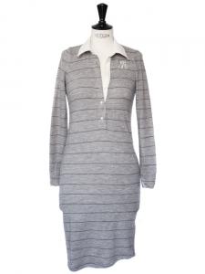 Robe chemise col blanc en laine grise à fines rayures bleues Taille 36