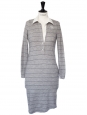 Long sleeves light grey with blue stripes wool shirt dress Retail price €250 Size 36