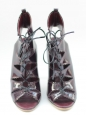 Patent burgundy leather lace up ankle boots NEW Retail for 950€ Size 37