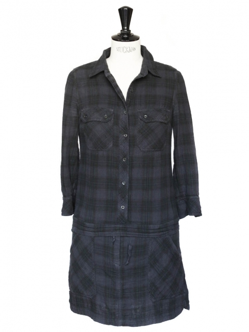 Blue and black check print cotton long sleeves dress Size 36