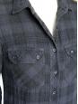 Robe manches longues en coton à carreaux bleu navy et noir Taille 36
