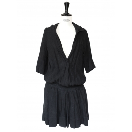 Black linen hooded dress Retail price €300 Size 36