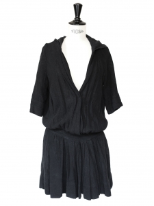 Black linen hooded dress Size 1 / 36
