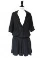 Robe cintrée à capuche en lin noir Px boutique 300€ Taille 36