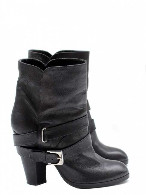 c32a6c10c82e05 Bottines Biker ankle boots en cuir noir NEUVES Px boutique 600€ Taille 36