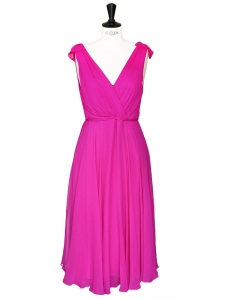 Open back V-neckline décolleté fuchsia pink silk chiffon dress Retail price 740€ Size 36